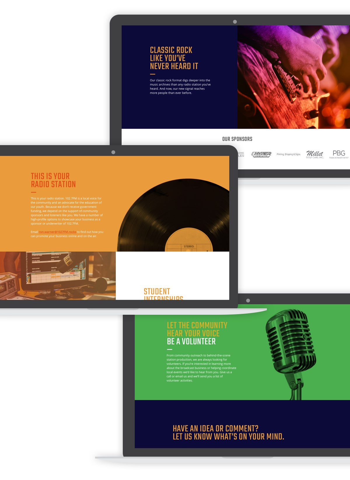102.7FM desktop screens