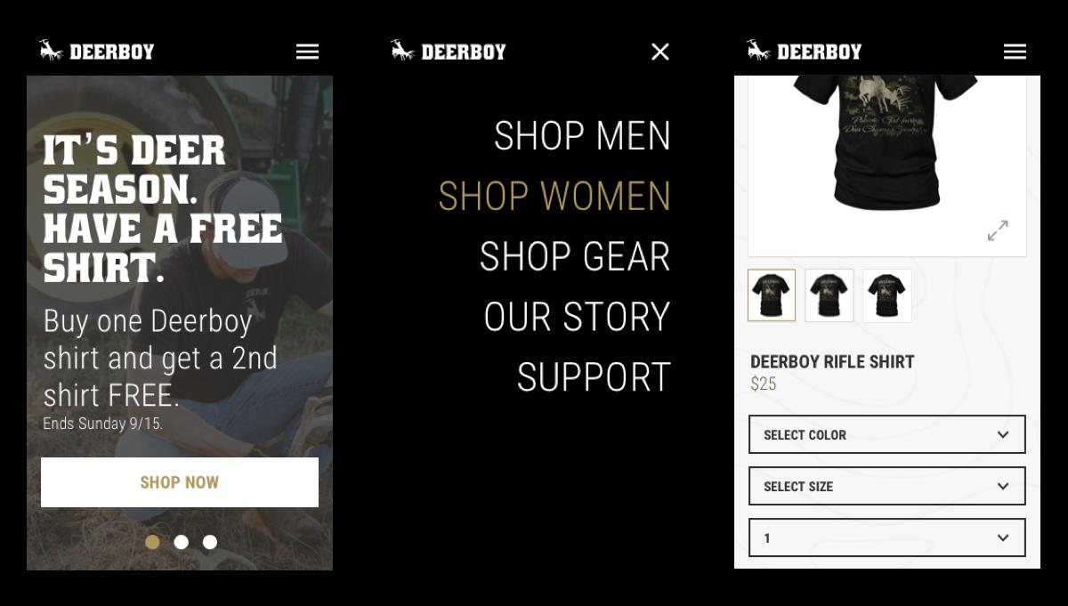 deerboy website mobile screens