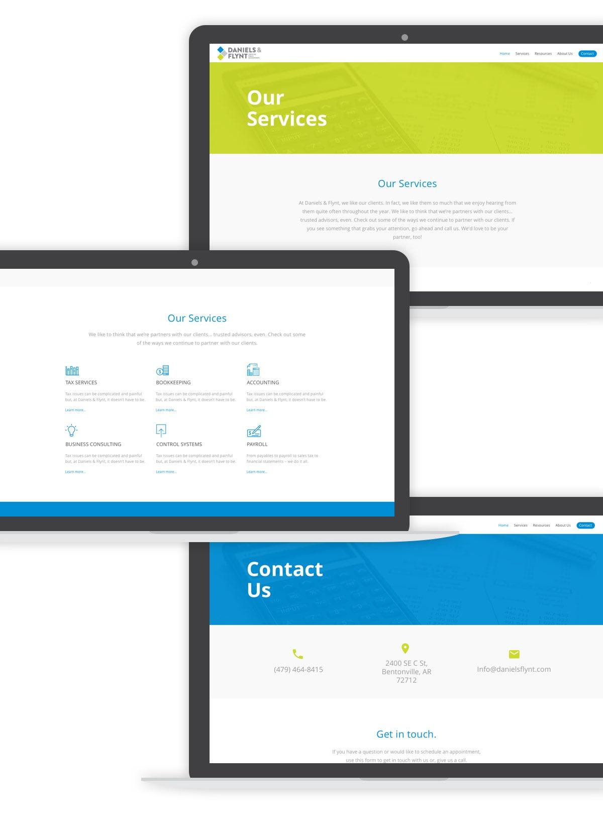 daniels & flynt our services desktop screens