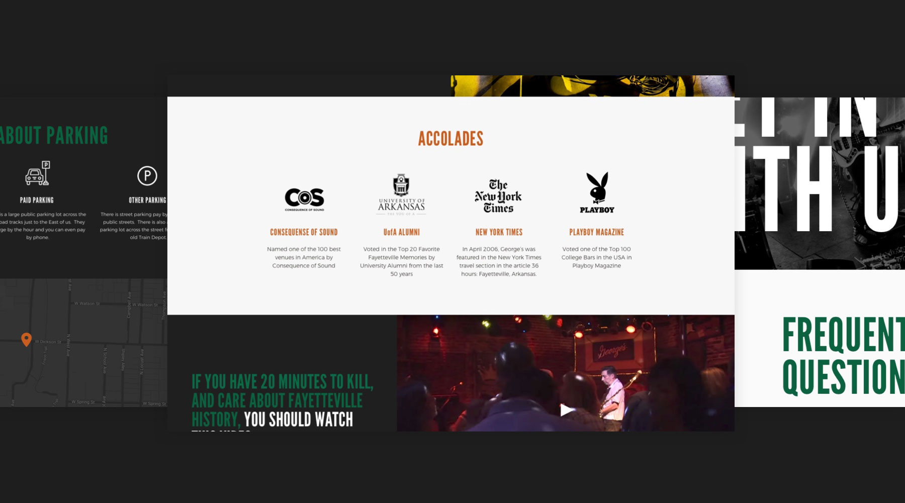 screenshot of the georges majestic lounge website