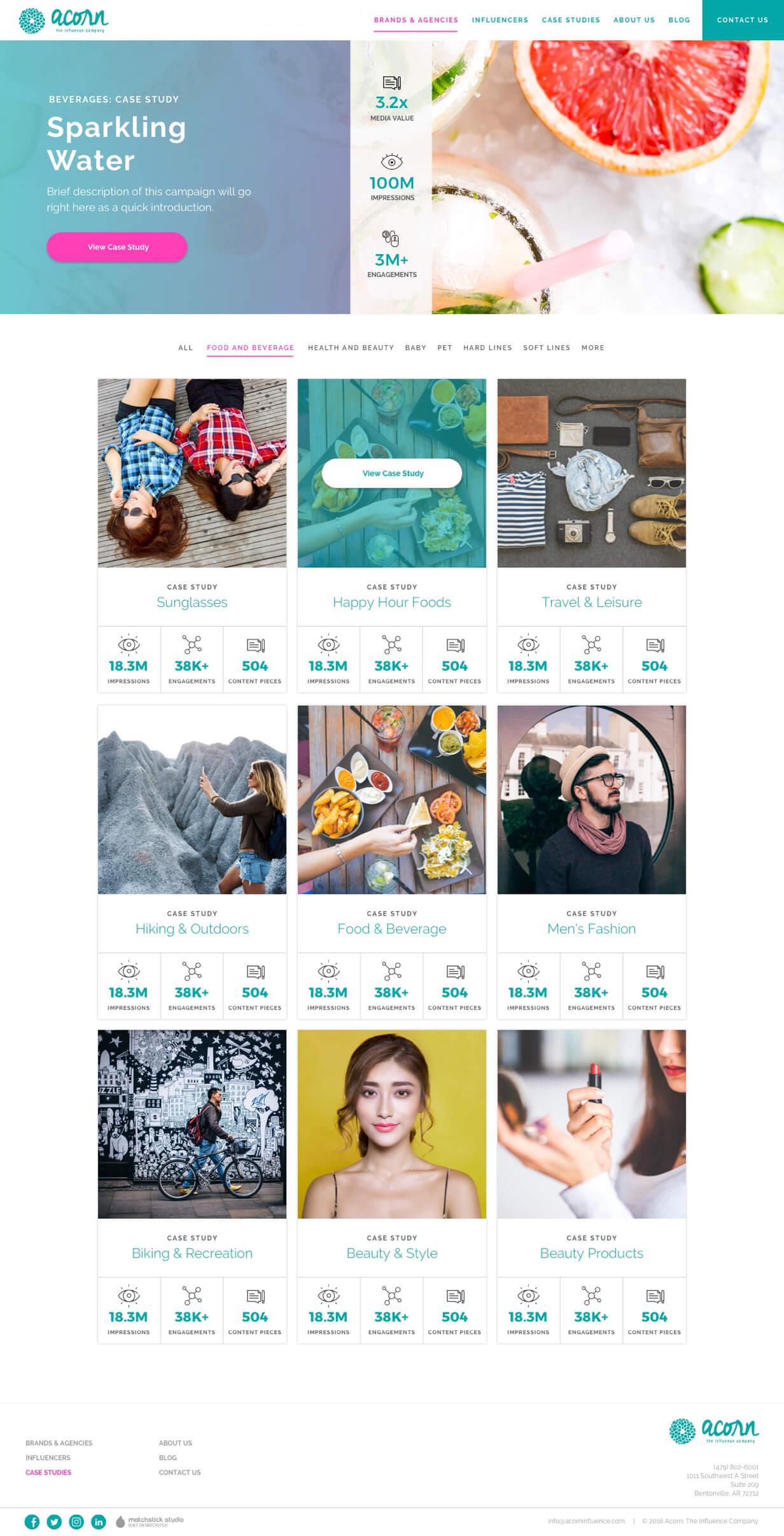 acorn influence case study page website design
