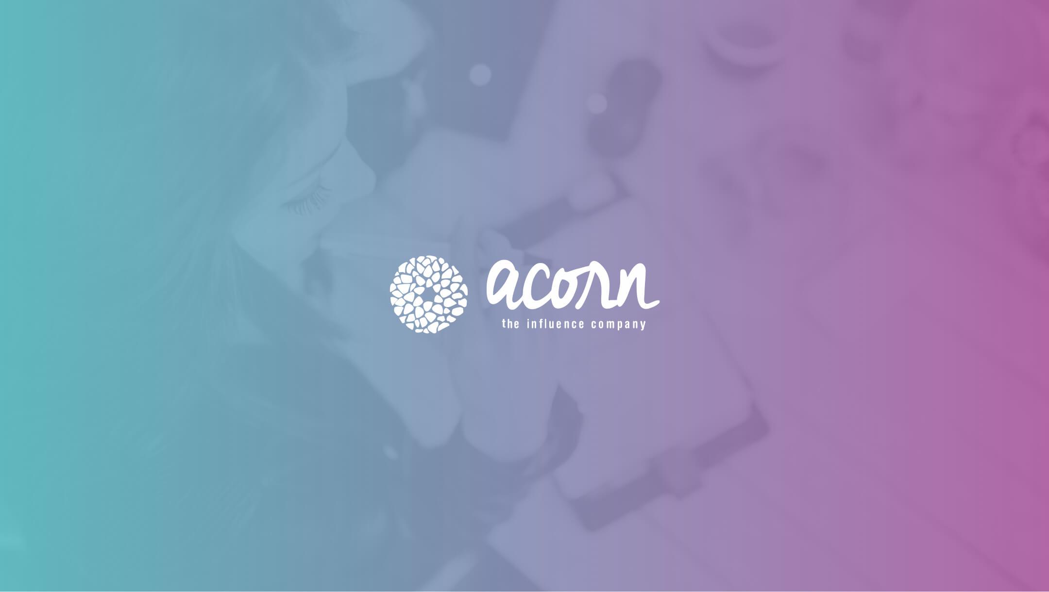 acorn influence logo with photo background