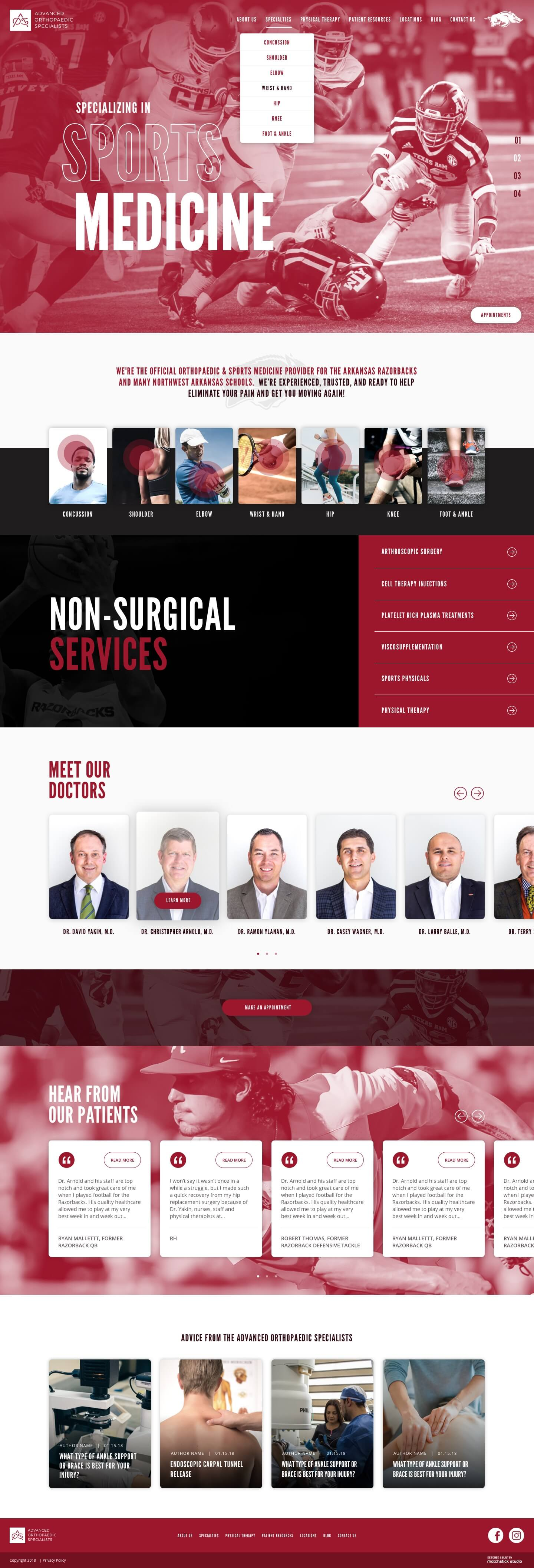 advanced orthopaedic specialists full website homepage