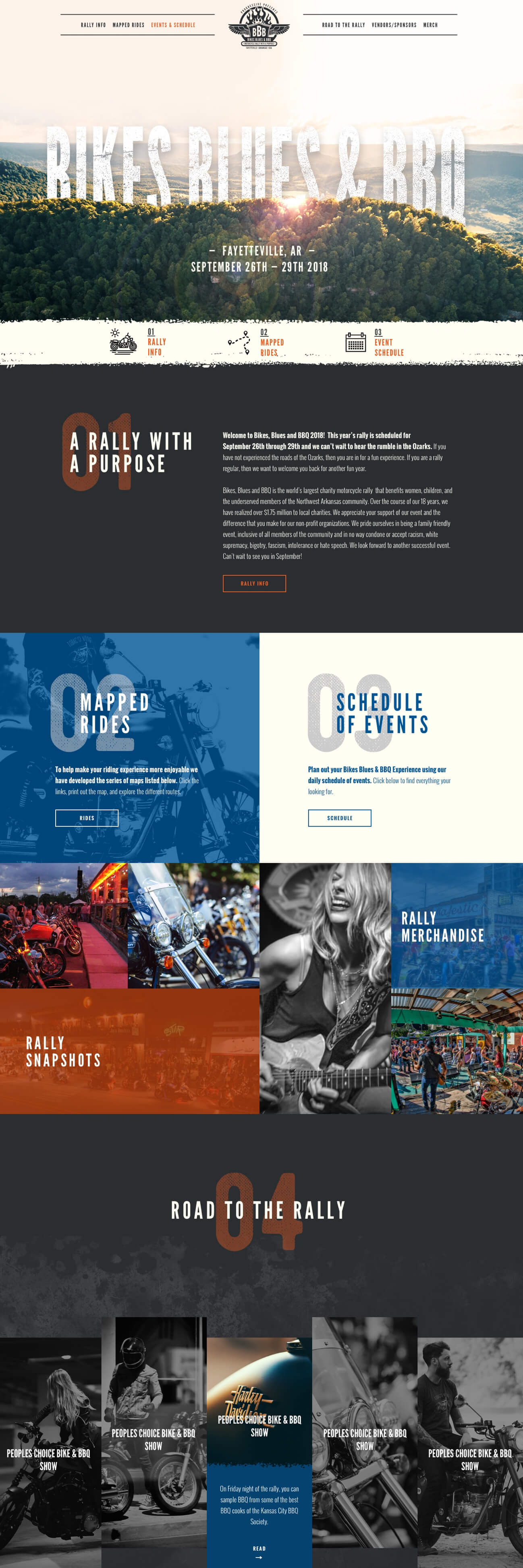 bikes blues and bbq homepage website design