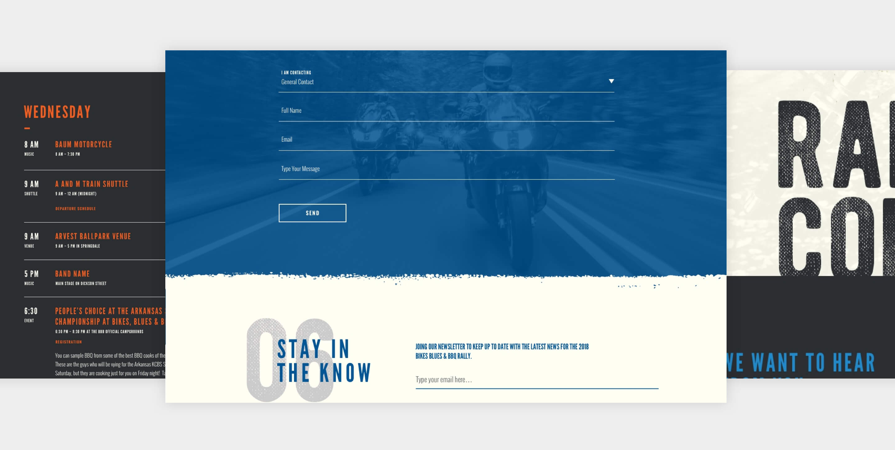 bikes blues and bbq contact page website design