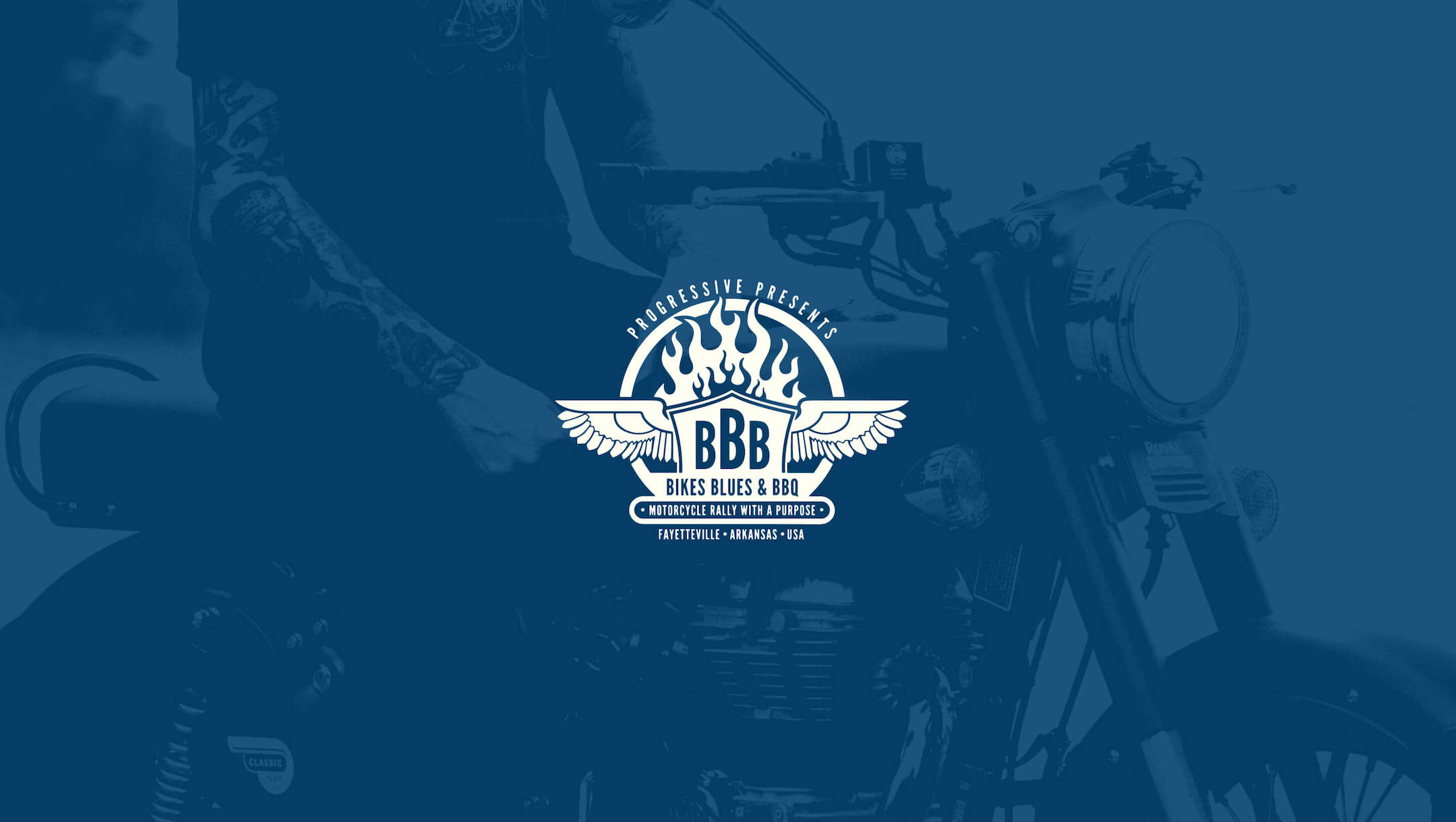 bikes blues bbq logo with photo background