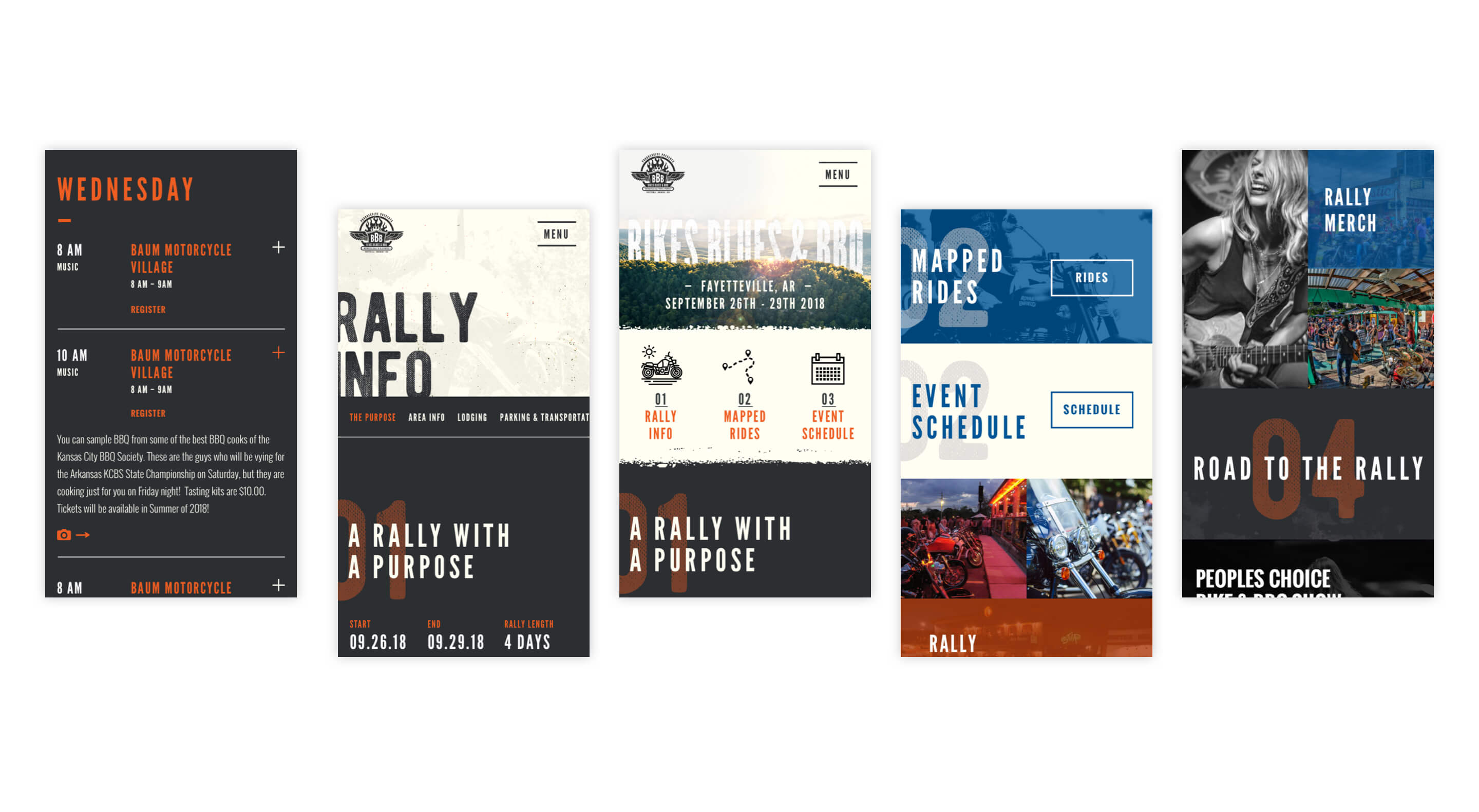 bikes blues and bbq mobile website designs