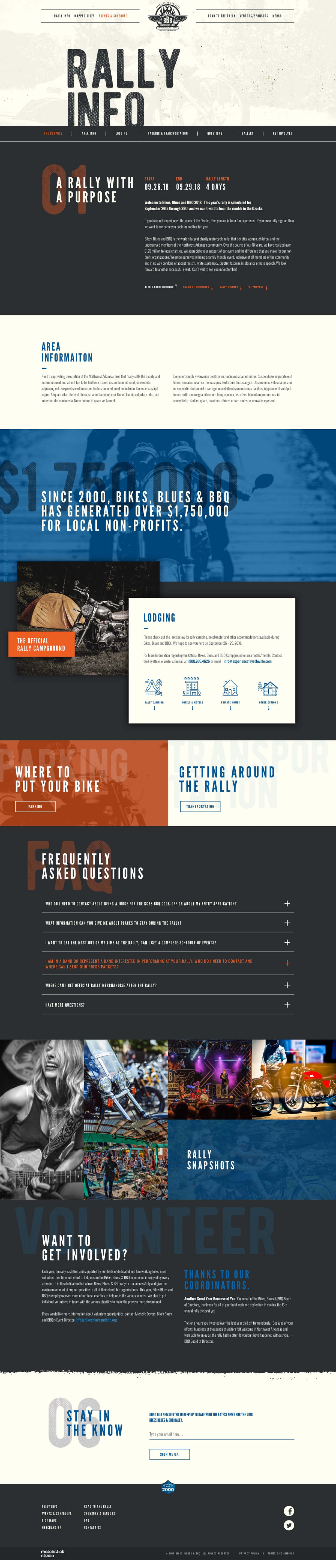 Bikes Blues and BBQ Website Layout