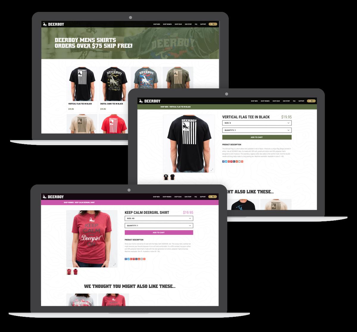 deerboy website desktop screens