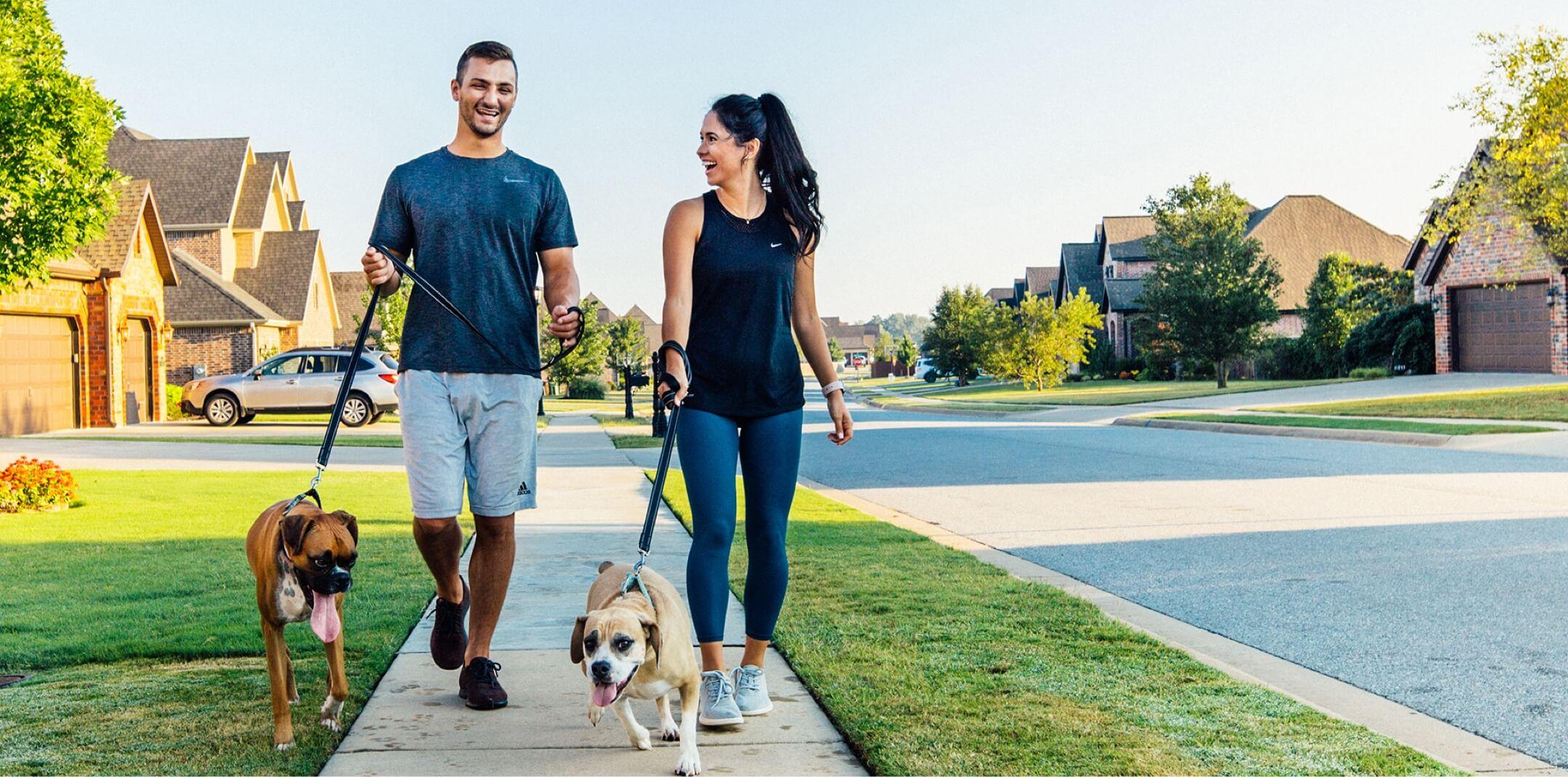 couple walking dogs in neighborhood