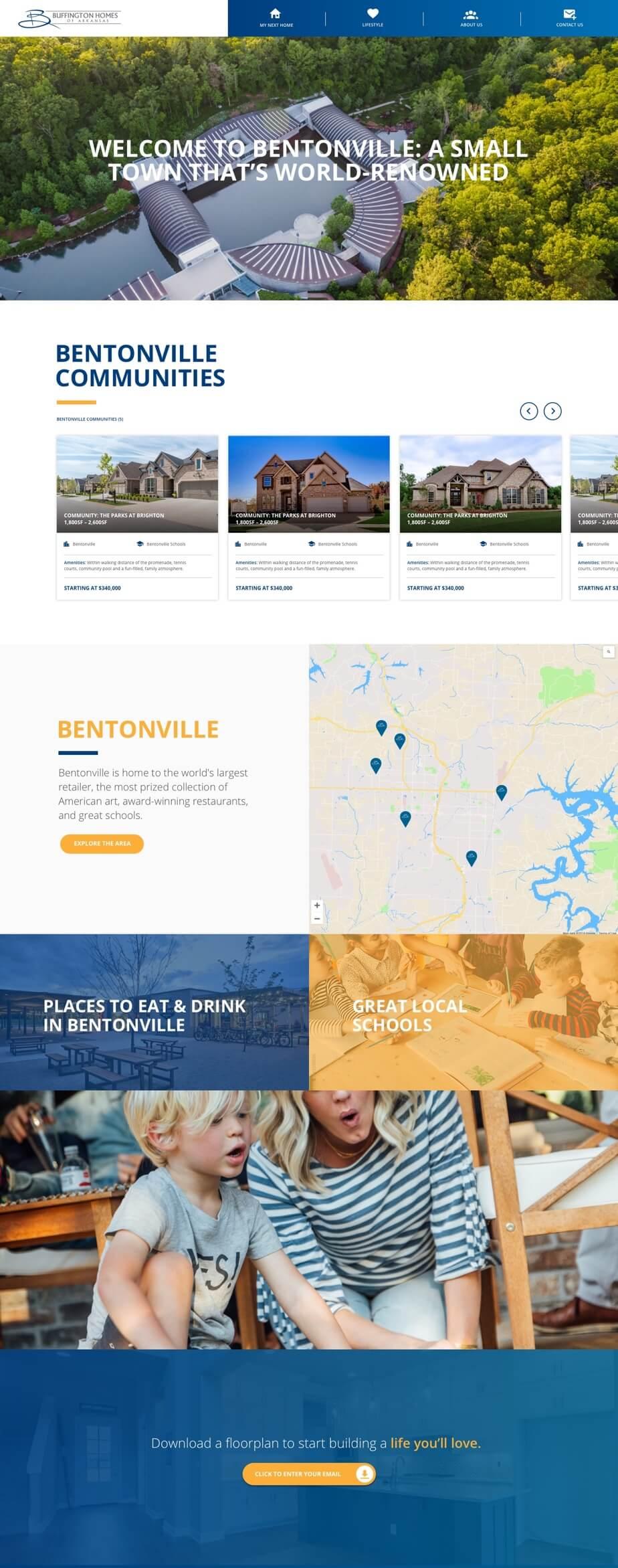buffington homes communities page desktop design