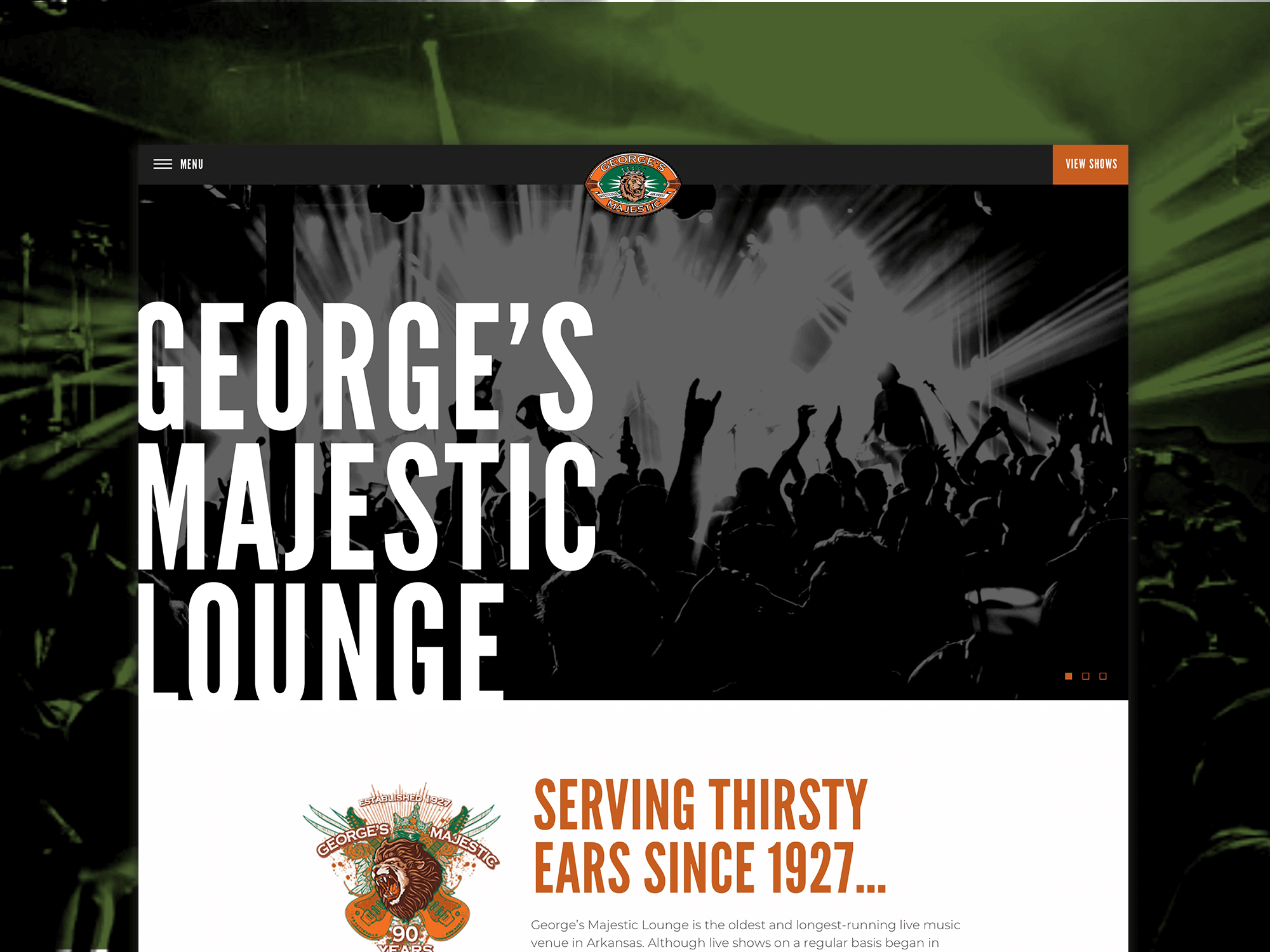 George's Majestic Lounge Homepage Shot
