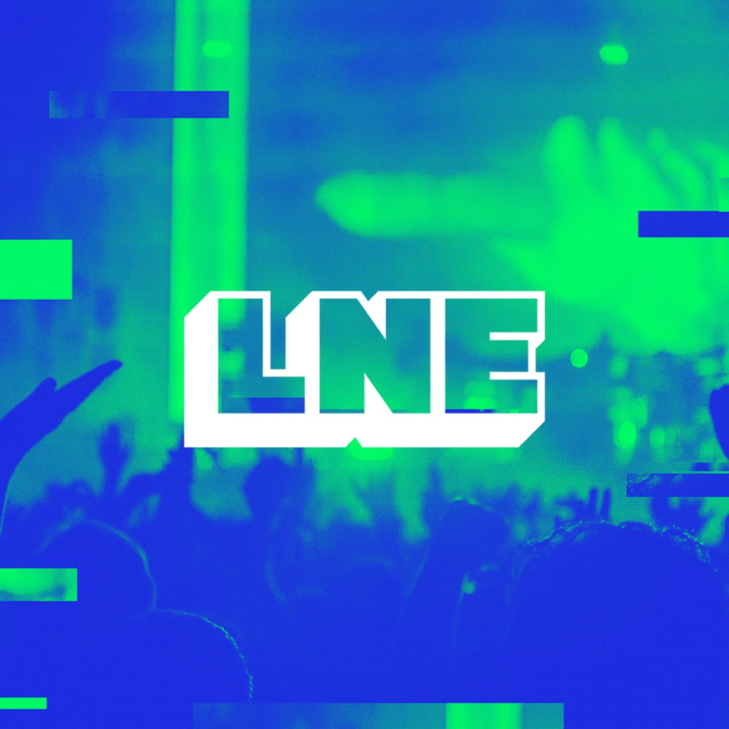 Last Night Events company logo on a photo of a crowd at a concert.