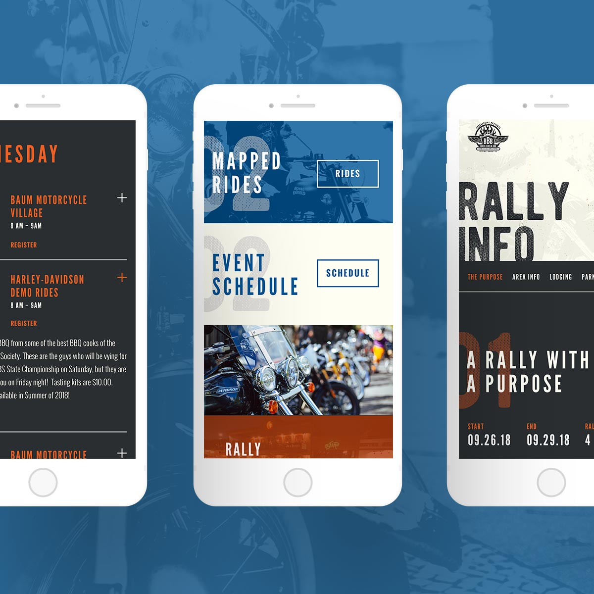 bikes blues and bbq mobile web screenshots
