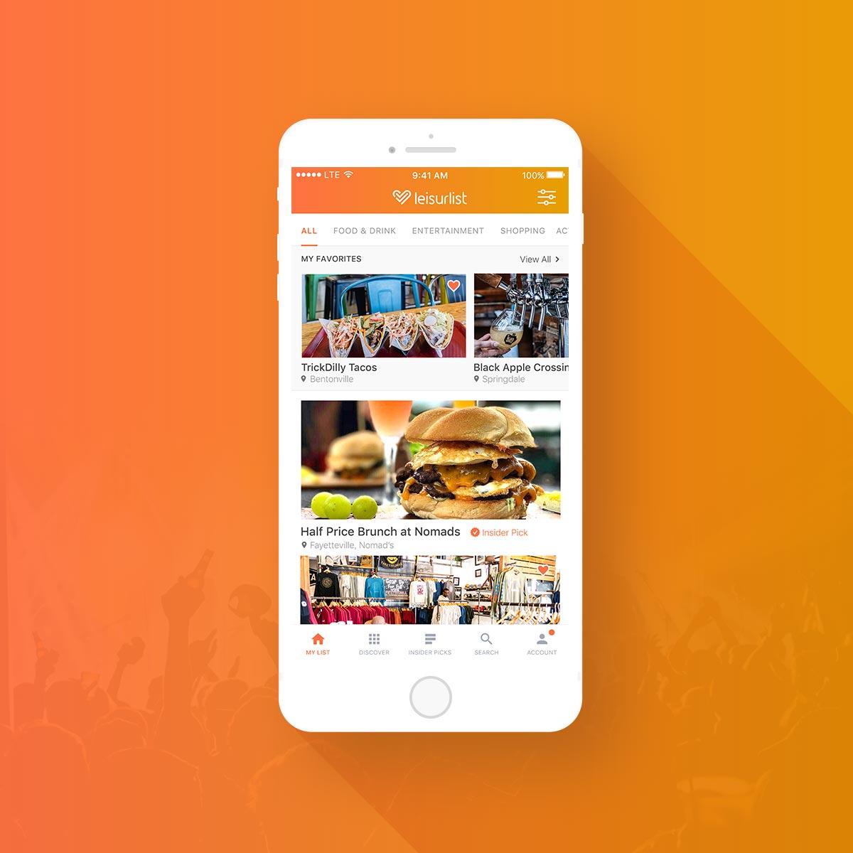 leisurlist mobile app