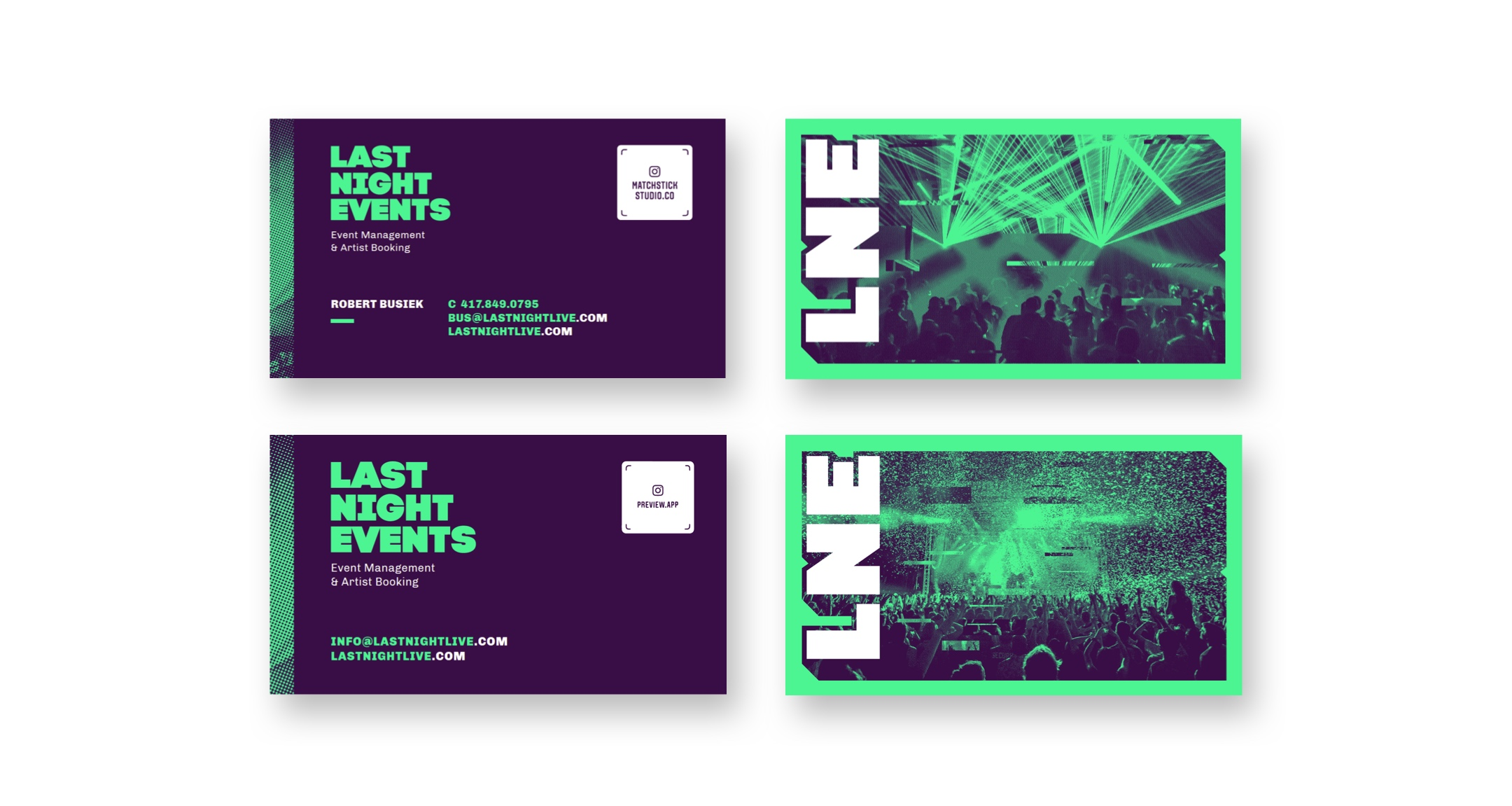 last night events business cards