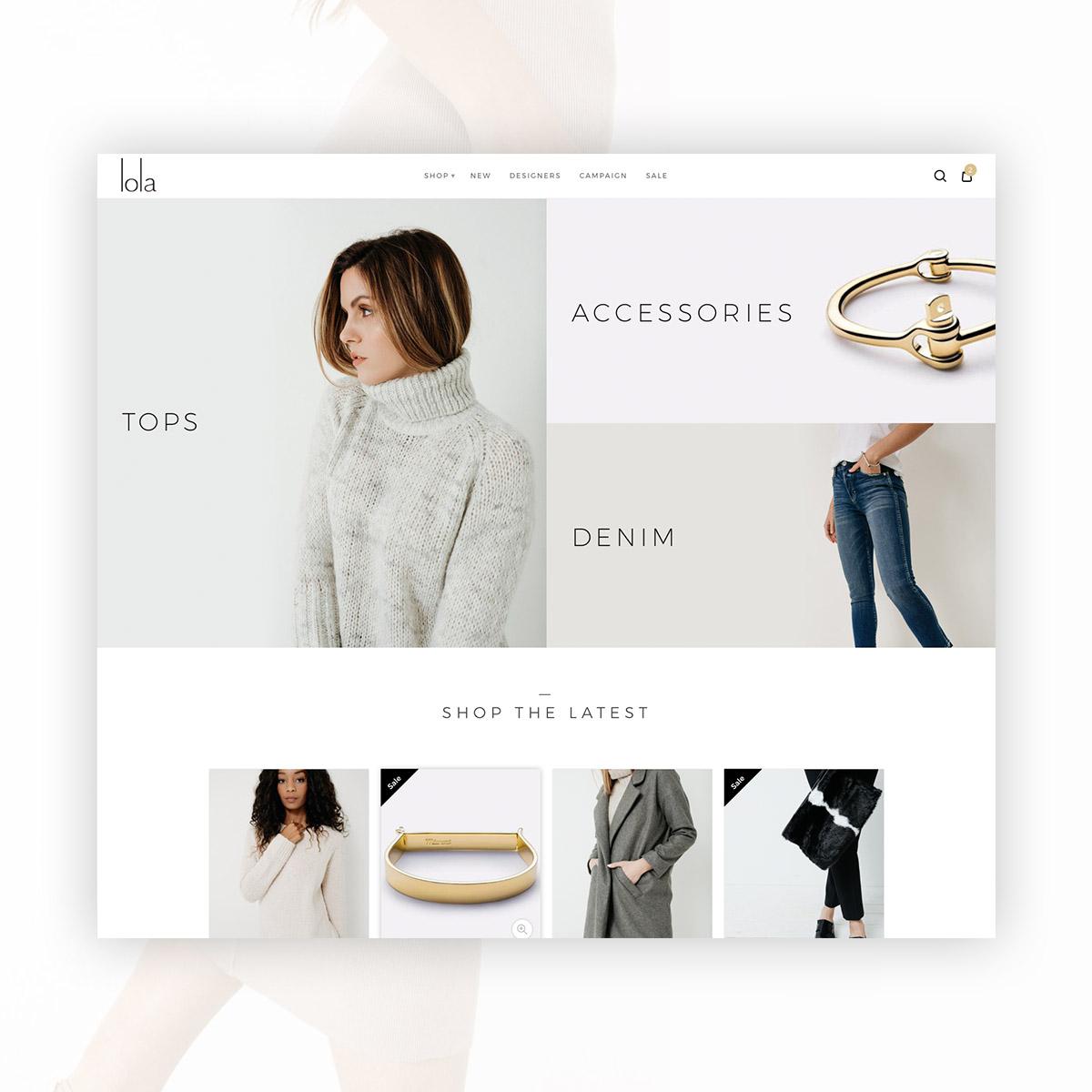 lola boutique desktop website design