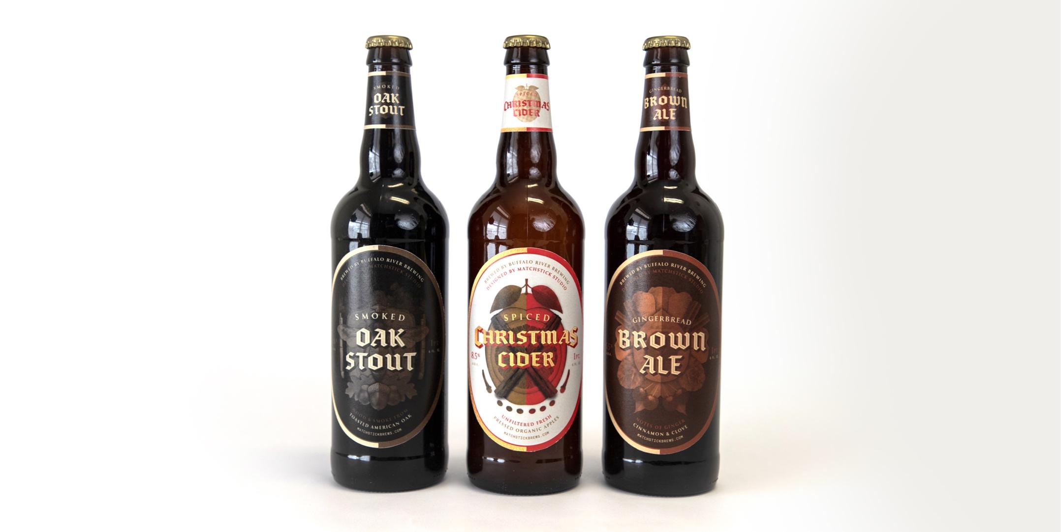 matchstick brews bottles and labels