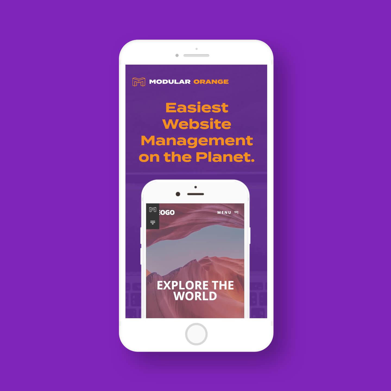 The Modular Orange website on an iPhone
