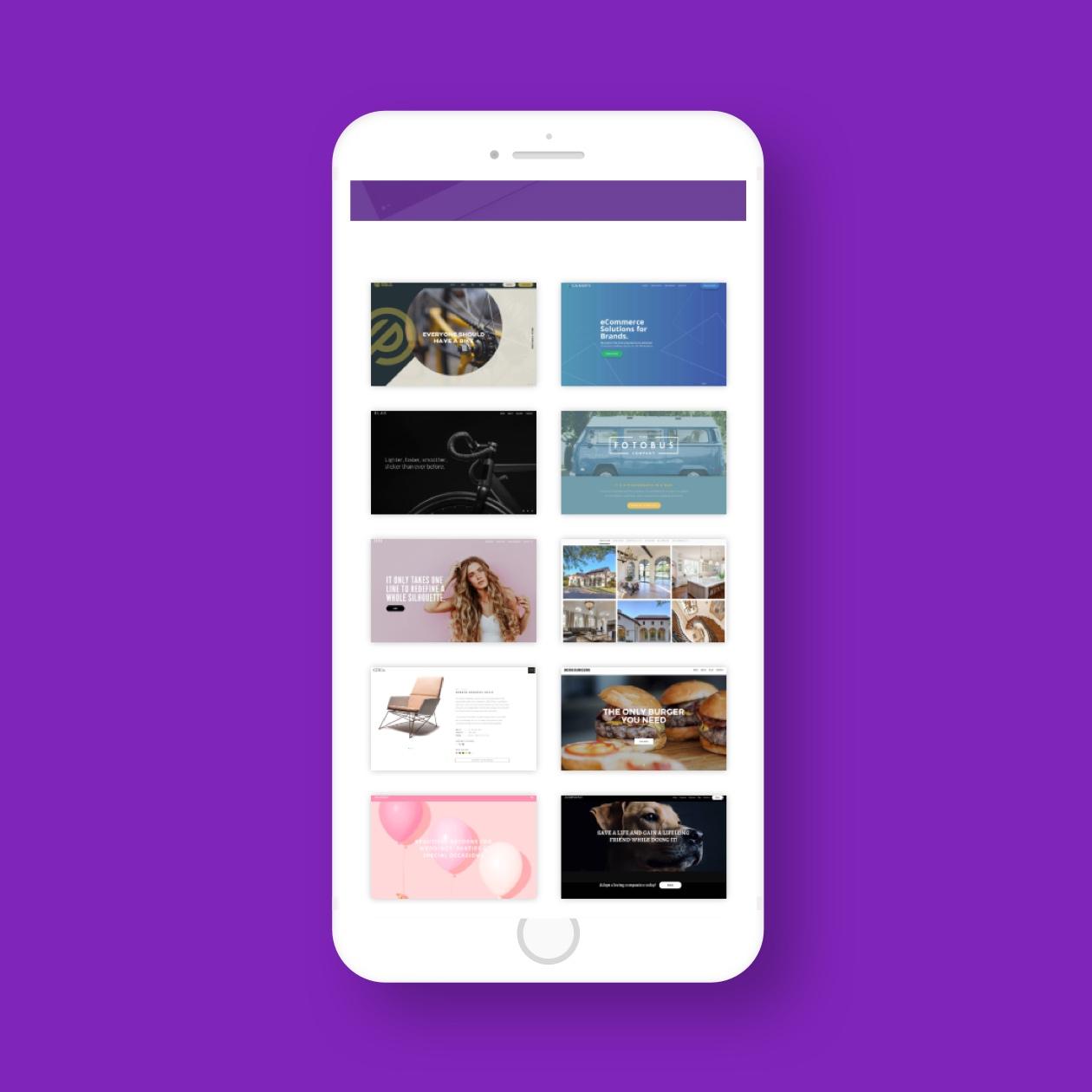 screenshot of modular orange mobile website portfolio page