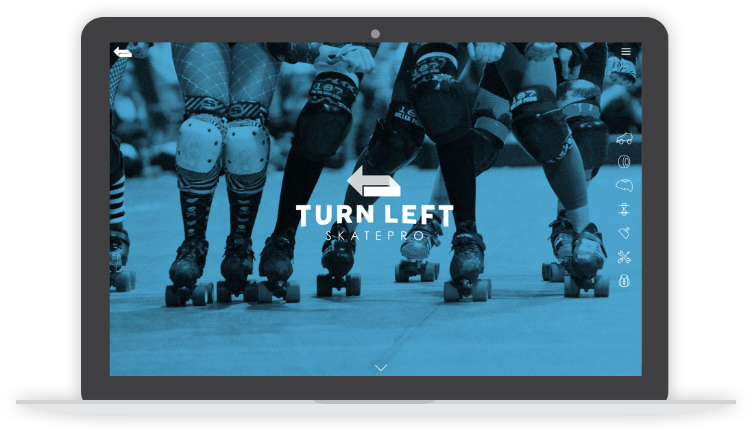 turn left skatepro website homepage desktop screen