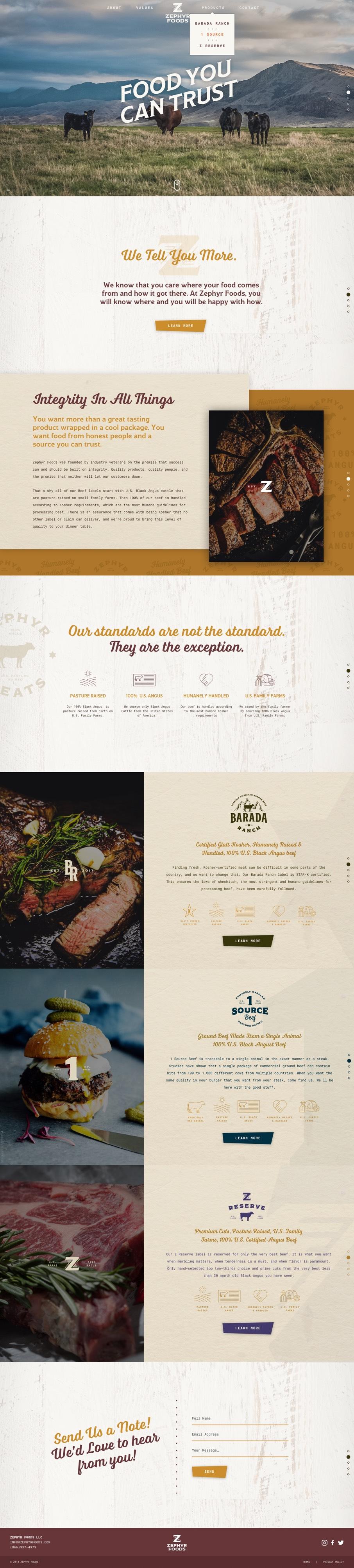 zephyr foods website homepage design